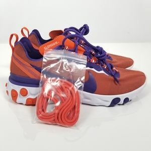 Nike React Element 55 Clemson Tigers Sneakers 9.5